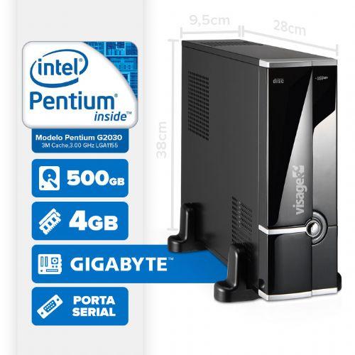 VISAGE PC BLEU SLIM G2030 - 145GS (INTEL PENTIUM G2030 / 4GB / 500GB / MB GIGABYTE / SERIAL / LINUX)