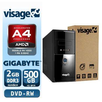 VISAGE PC VERT A4 4000 - 225GD ( APU A4 4000 / 2GB / 500GB / GIGABYTE / DVD-RW / LINUX)