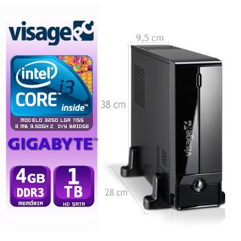 VISAGE PC BLEU SLIM I3 3250 - 141TGB (CORE I3 3250 / 4GB RAM / HD 1TB / MB GIGABYTE / LINUX)