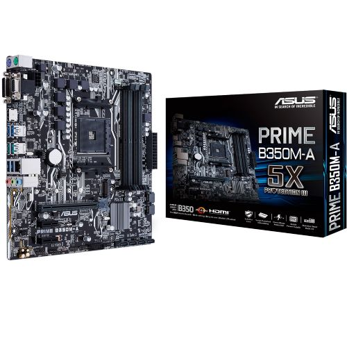 M1331 Placa Mãe AM4 ASUS PRIME B350M-A DDR4 RAID (4x DDR4 / 2x PCIe x16 / 2x PCIe x1 / 4x USB 3.0 / 2x USB 3.1 / 1x VGA / 1x HDMI / 1x DVI / 2x PS2)