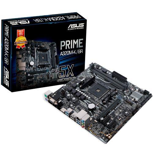 M1331 Placa Mãe AM4 ASUS PRIME A320M-K/BR DDR4 (S/V/R) ( 1x VGA / x HDMI / 2x DDR4 / 1x PCI-e x16 / 2x PCI-e x1 / 2x PS2 / 4x USB 3.0 / 2x USB 2.0 )