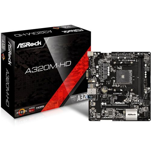 M1331 Placa Mãe AM4 ASROCK A320M-HD DDR4 ( 2x DDR4 / 1x PCIe x16 / 1x PCIe x1 / 2x USB 3.0 / 4x USB 2.0 / 1x VGA/ 1x HDMI / 1x PS2 / RAID )