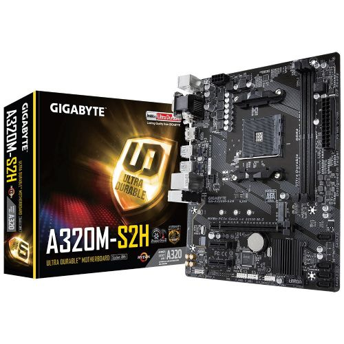 M1331 Placa Mãe AM4 Gigabyte A320M-S2H DDR4 ( 2x DDR4 / 1x PCIe x16 / 2x PCIe x1 / 4x USB 3.0 / 2x USB 2.0 / 1x VGA / 1x DVI/ 1x HDMI / 2x PS2 / RAID )