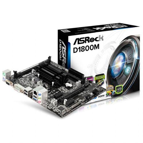 M1800 Placa Mãe com Processador Intel J1800 Integrado Asrock D1800M Micro ATX (2x DDR3/DDR3L / 1x PCI-E 2.0 x16 / 2x PCI-E 2.0 x1 / 2x Sata2 3.0 Gb/s / 1x USB 3.0 / 3x USB 2.0 / 1x HDMI / 1x VGA / 1x DVI-D )