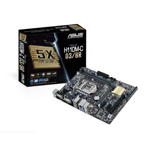 M1151 Placa Mãe LGA1151 ASUS H110M-C D3/BR (2x DDR3 / 1x PCI / 1x PCIe 3.0 x1 / 2x PCIe 2.0 x1 / 1x VGA / 1x HDMI / 2x PS2 / 2x USB 3.0 / 4x USB 2.0 )