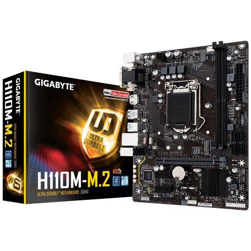 M1151 Placa Mãe LGA1151 Gigabyte GA-H110M-M.2 DDR4 ( 2x DDR4 / 1x PCIe 2.0 x16 / 2x PCIe 2.0 x1 / 2x USB 3.0 / 4x USB 2.0 / 1x VGA/ 1x HDMI / 1x DVI / 2x PS2 )