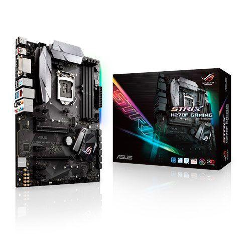 Placa Mãe LGA1151 ASUS STRIX H270F GAMING DDR4 (4x DDR4 / 2x PCIe 2.0 x16 / 4x PCIe 2.0 x1 / 2x USB 3.1 / 2x USB 3.0 / 4x USB 2.0 / 1x HDMI / 1x DVI / 1x DisplayPort / 1x PS2)