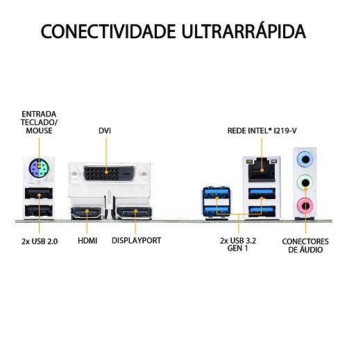 M1200 Placa Mãe LGA1200 Asus TUF GAMING B460M-PLUS DDR4 ( 4x DDR4 / 1x PCIe 3.0 x16 / 1x PCIe 3.0 x1 / 4x USB 3.2 / 2x USB 2.0 / 1x HDMI / 1x DVI / 1x DisplayPort / 1x PS2 )