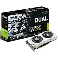 Placa de Video GeForce GTX1060 3GB DDR5 192bits DUAL ASUS - ( 2x HDMI / 1x DVI / 2x DisplayPort ) - DUAL-GTX1060-O3G