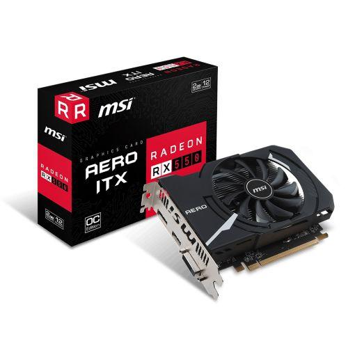 Placa de Video AMD Radeon RX 550 AERO ITX 2GB OC DDR5 128bits MSI - ( 1x DVI / 1x HDMI / 1x DisplayPort ) - 912-V809-2466