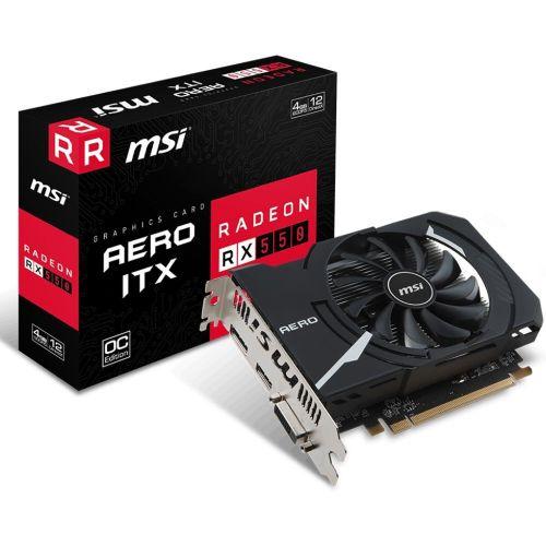 Placa de Video AMD Radeon RX 550 AERO ITX 4GB OC DDR5 128bits MSI - ( 1x DVI / 1x HDMI / 1x DisplayPort ) - 912-V809-2487