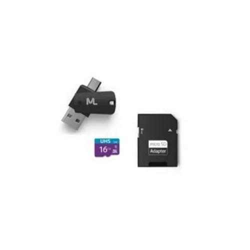 Cartão de Memória MicroSD 16GB Ultra High Speed-I com 1 Adaptador / USB - 4x1 - Multilaser (MC150)