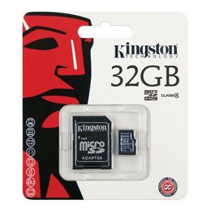 Cartão de Memória MicroSD 32GB com Adaptador Kingston CL4