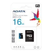 Cartão de Memória MicroSD  16GB com 1 Adaptador CL10 50/10 MB/S ADATA (AUSDH16GUICL10-RA1)