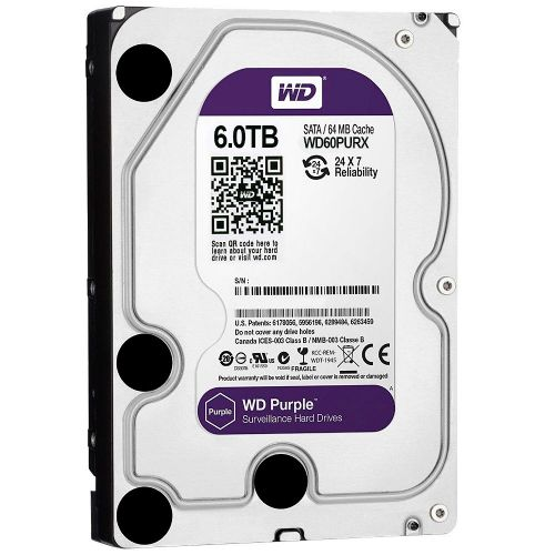 HD 6TB 5400RPM 64MB SATA3 (6 Gb/s) WD Purple WD60PURX (HD para Vigilância)