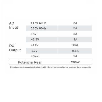 Fonte SFX 200W K-MEX PP-200RNG Com Cabo de Força (MATX/ITX)