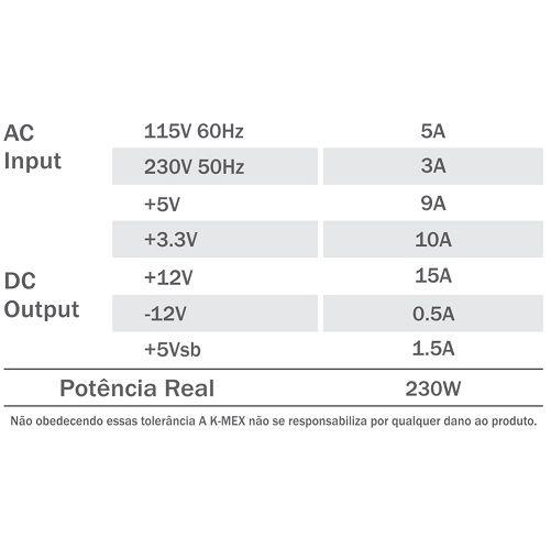 Fonte SFX 230W K-MEX PB-230ROF com Cabo de Força (M-ATX/ITX)