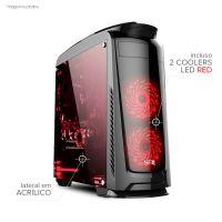Gabinete NFX Gamer DARKFACE 2 com 2 coolers LED VERMELHO e Lateral em Acrílico (Sem Fonte)
