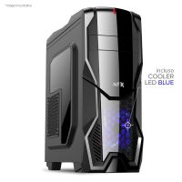 Gabinete NFX Gamer DARKSHIELD Preto com Cooler LED AZUL (Sem Fonte)