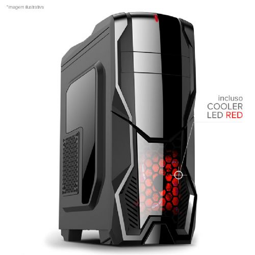 Gabinete NFX Gamer DARKSHIELD com cooler LED Vermelho (Não acompanha Fonte)