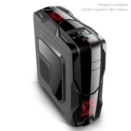 Gabinete NFX Gamer DARKSHIELD Preto com Cooler LED VERMELHO (Sem Fonte)