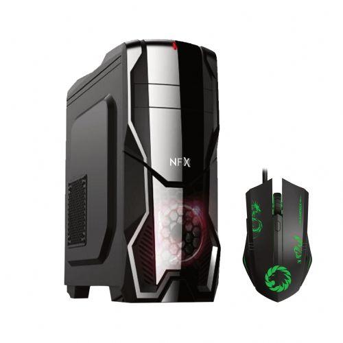 Gabinete GAMER NFX DarkShield Preto (Sem Fonte e Sem Fan Coolers) => Brinde: 01 x Mouse GAMER 3200DPI Gamemax MG386