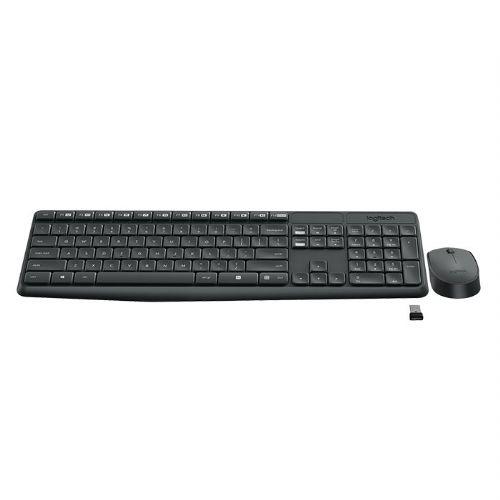Kit Teclado e Mouse Sem Fio USB Logitech MK235 - Preto