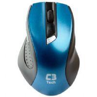 Mouse USB Sem Fio 1600dpi Preto e Azul C3tech M-W001BL