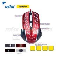 Mouse USB Gamer Feasso Vinho - 2400dpi (FAMO-17)