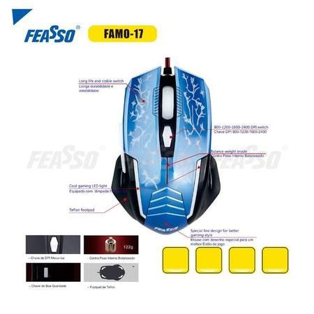 Mouse USB Gamer Feasso Azul - 2400dpi (FAMO-17)