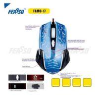 Mouse USB Gamer Feasso Azul - 2400dpi (FAMO-17)
