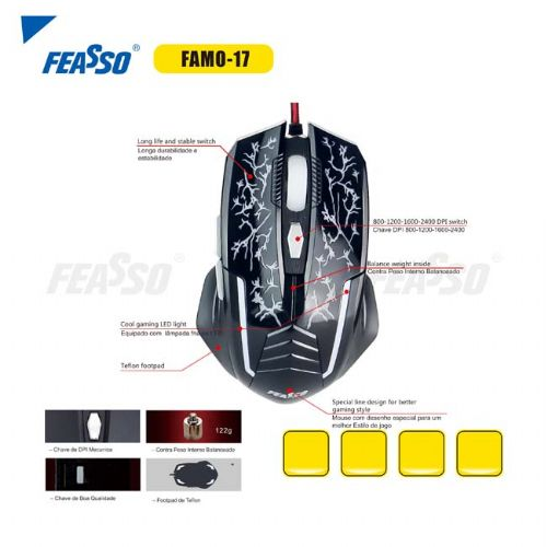 Mouse USB Gamer 2400 DPI Feasso FAMO-17 - Preto