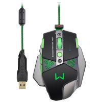 Mouse Gamer Warrior 4000dpi Macro Leds - Multilaser - Preto / USB (MO249)