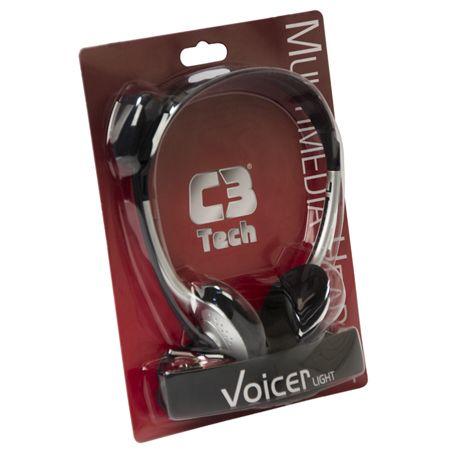 Fone Com Microfone C3TECH Voicer Light V2 Preto e Prata CT662040BS