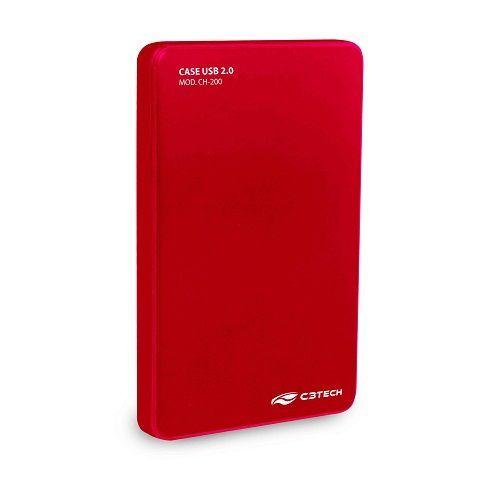 Case Externo USB 2.0 para HD/SSD 2.5 C3Tech CH-200RD - Vermelho