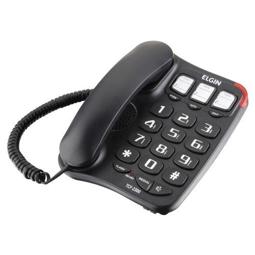 Telefone com Fio Elgin TCF 2300 Teclas Grandes e Viva Voz Preto