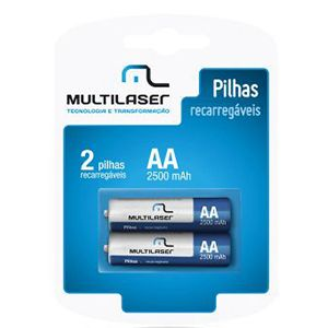 Pilha Recarregável AA Multilaser com 2 unidades - CB053