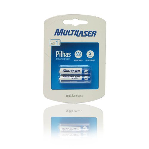 Pilha Recarregável AAA Multilaser 1000mAH com 2 Unidades - CB051