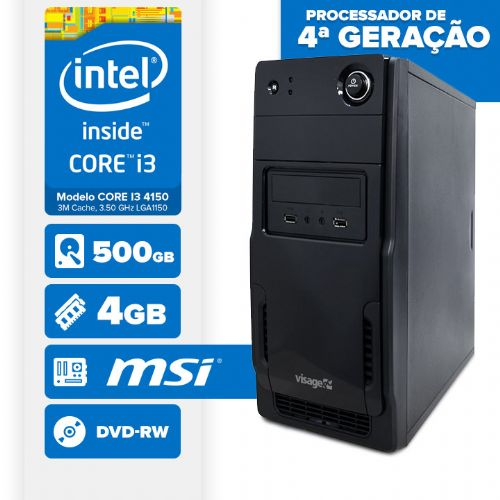 Visage PC BLEU I3 4150 - 245MD ( Core I3 4150 / 4GB / 500GB / MB MSI / DVD-RW / LINUX )