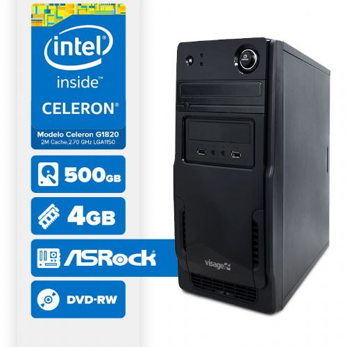 VISAGE PC BLEU G1820 - 245RD ( Celeron G1820 / 4GB / 500GB / MB ASROCK / DVD-RW / LINUX )