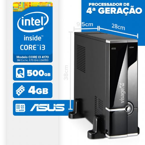 Visage PC BLEU SLIM I3 4170 - 145A (CORE I3 4170 / ASUS / 4GB RAM / HD 500GB / LINUX)