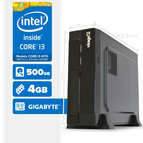 Visage PC BLEU SLIM I3 4170 - 145G (CORE I3 4170 / GIGABYTE / 4GB RAM / HD 500GB / LINUX)