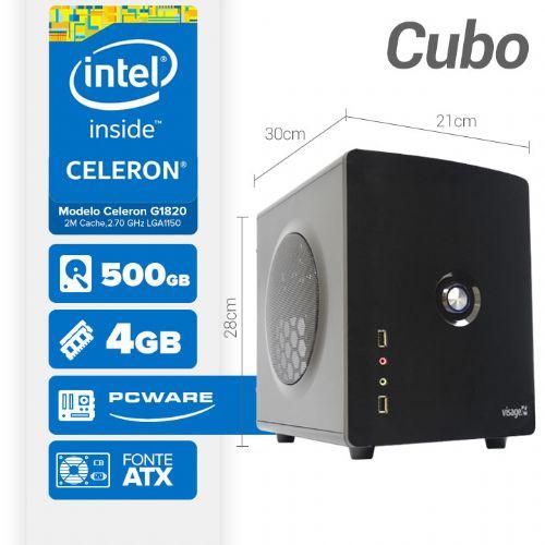 VISAGE PC BLEU G1820 - 145P CUBO ( Celeron G1820 / 4GB / 500GB / MB PCWARE / GAB. CUBO / LINUX )
