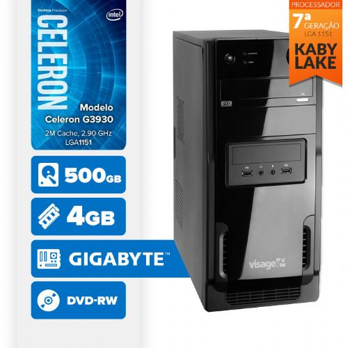 VISAGE PC BLEU G3930 - 445GD ( Celeron G3930 / 4GB / 500GB / MB GIGABYTE / DVD-RW / LINUX )