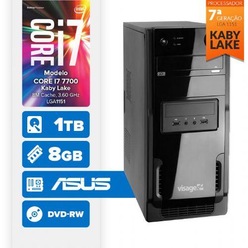VISAGE PC BLEU I7 7700 - 481TAD (CORE I7 7700 / 8GB RAM / HD 1TB / DVD-RW / MB ASUS / LINUX)