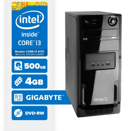 Visage PC BLEU I3 4170 - 445GD ( Core I3 4170 / 4GB / 500GB / MB GIGABYTE / DVD-RW / LINUX )