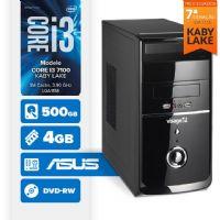 Visage PC BLEU I3 7100 - 245AD ( Core I3 7100 / 4GB / 500GB / MB ASUS / DVD-RW / LINUX )