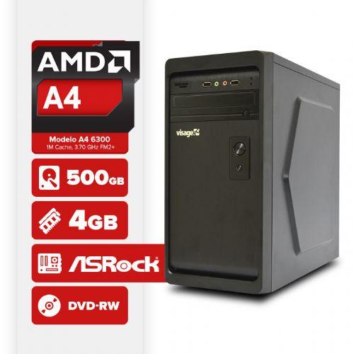 VISAGE PC VERT A4 6300 - 245RD  (AMD A4 6300 / 4GB RAM / HD 500GB / MB ASROCK / DVD-RW / LINUX )
