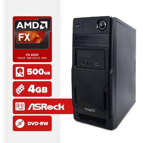 VISAGE PC VERT FX 4300 - 245RD (FX 4300 / 4GB RAM / HD 500GB / DVD-RW / MB ASROCK / LINUX)