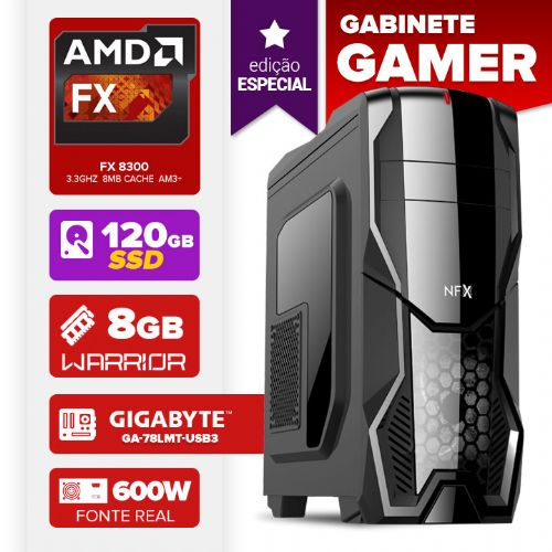 VISAGE PC VERT FX 8300 - 481G DARKSHIELD (FX 8300 / MB GIGABYTE / 8GB RAM / HD 120GB SSD / GABINETE GAMER DARKSHIELD / FONTE 600W / LINUX)